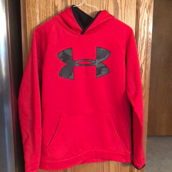 NWT UNDER ARMOUR BOYS RED CAMO PULLOVER HOODIE HOODY